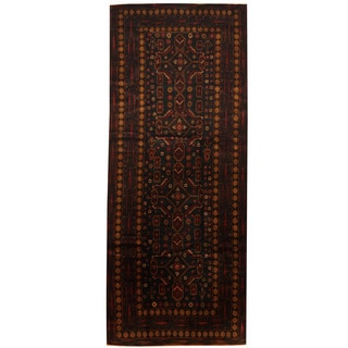 Herat Oriental Afghan Hand-knotted 1960s Semi-antique Tribal Balouchi Wool Runner (4'1 x 10')