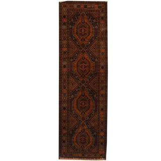 Herat Oriental Afghan Hand-knotted 1960s Semi-antique Tribal Balouchi Wool Runner (3'1 x 10'10)