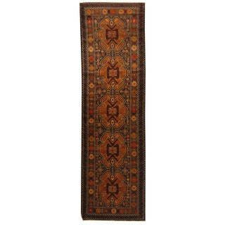 Herat Oriental Afghan Hand-knotted 1960s Semi-antique Tribal Balouchi Wool Runner (3' x 10')