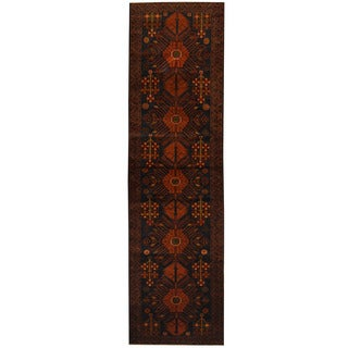 Herat Oriental Afghan Hand-knotted 1960s Semi-antique Tribal Balouchi Wool Runner (2'9 x 9'9)