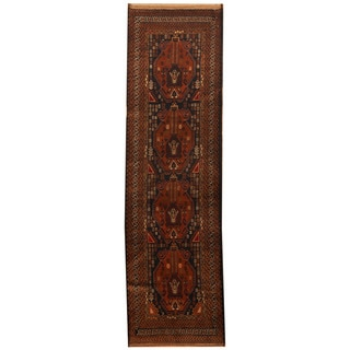 Herat Oriental Afghan Hand-knotted 1960s Semi-antique Tribal Balouchi Wool Runner (2'8 x 9'5)