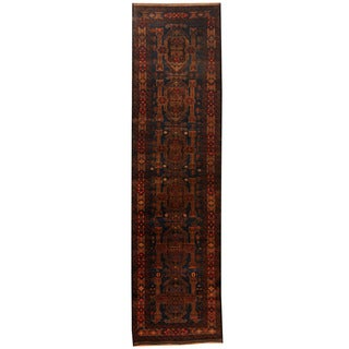 Herat Oriental Afghan Hand-knotted 1960s Semi-antique Tribal Balouchi Wool Runner (2'7 x 9'10)