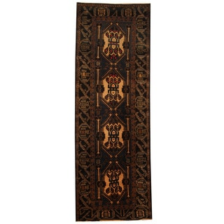 Herat Oriental Afghan Hand-knotted 1960s Semi-antique Tribal Balouchi Wool Runner (2'10 x 8'2)