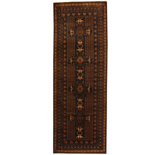 Herat Oriental Afghan Hand-knotted 1960s Semi-antique Tribal Balouchi Wool Runner (3'4 x 9'4)