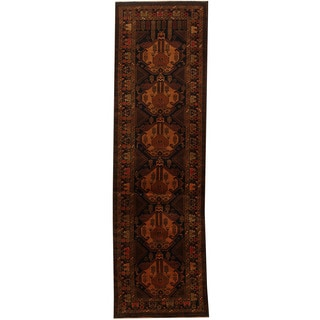 Herat Oriental Afghan Hand-knotted 1960s Semi-antique Tribal Balouchi Wool Runner (3' x 9'9)
