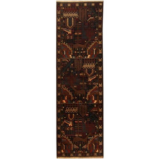Herat Oriental Afghan Hand-knotted 1960s Semi-antique Tribal Balouchi Wool Runner (2'10 x 9'4)