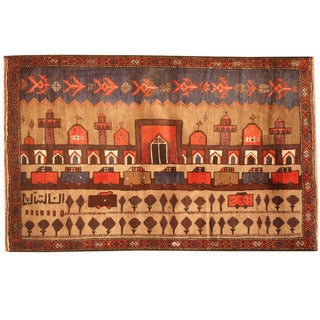 Herat Oriental Afghan Hand-knotted 1960s Semi-antique Tribal Balouchi Wool Rug (3' x 4'8)