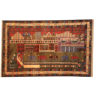 Herat Oriental Afghan Hand-knotted 1960s Semi-antique Tribal Balouchi Wool Rug (2'9 x 4'5)