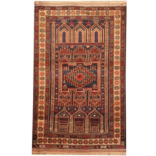 Herat Oriental Afghan Hand-knotted 1960s Semi-antique Tribal Balouchi Wool Rug (2'10 x 4'7)