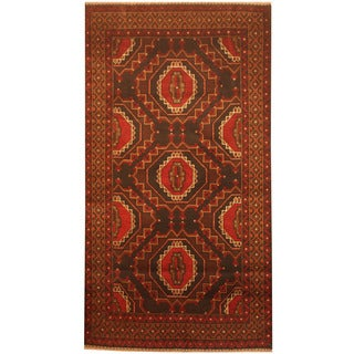 Herat Oriental Afghan Hand-knotted 1960s Semi-antique Tribal Balouchi Wool Rug (3'6 x 6'5)