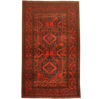 Herat Oriental Afghan Hand-knotted 1960s Semi-antique Tribal Balouchi Wool Rug (3'10 x 6'5)