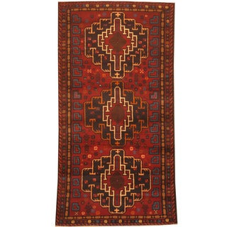 Herat Oriental Afghan Hand-knotted 1960s Semi-antique Tribal Balouchi Wool Rug (3'5 x 6'3)