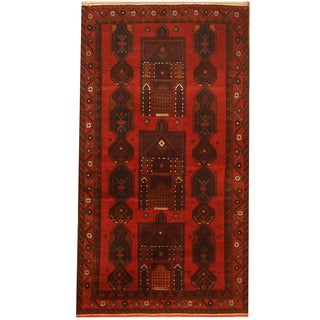 Herat Oriental Afghan Hand-knotted 1960s Semi-antique Tribal Balouchi Wool Rug (3'4 x 6'2)