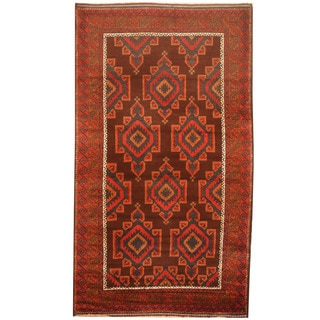 Herat Oriental Afghan Hand-knotted 1960s Semi-antique Tribal Balouchi Wool Rug (3'9 x 6'9)