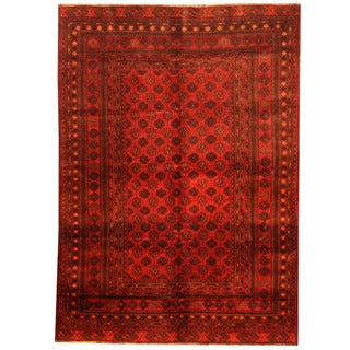 Herat Oriental Afghan Hand-knotted 1960s Semi-antique Tribal Balouchi Wool Rug (6'7 x 9'2)