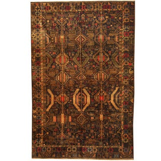 Herat Oriental Afghan Hand-knotted 1960s Semi-antique Tribal Balouchi Wool Rug (6'3 x 9'6)