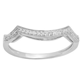 Elora 14K White Gold 1/6ct TDW Round-Cut Diamond Contour Band Anniversary Wedding Guard Ring (I-J,I2-I3)