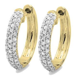 Elora 14K Gold 1/2ct TDW Round Diamond Pave Set Hoop Earrings (I-J,I2-I3)