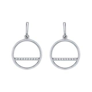 10k White Gold 1/10ct TDW White Diamond Drop Earrings