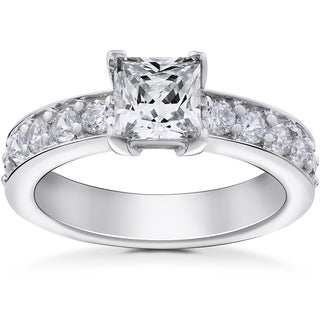 14k White Gold 2 ct TDW Princess Cut Clarity Enhanced Diamond Engagement Ring (H-I,I1-I2)