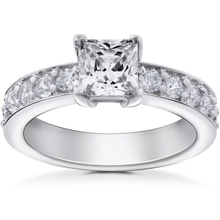 14k White Gold 2 ct TDW Princess Cut Clarity Enhanced Diamond Engagement Ring