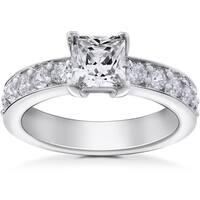 14k White Gold 2 ct TDW Princess Cut Clarity Enhanced Diamond Engagement Ring