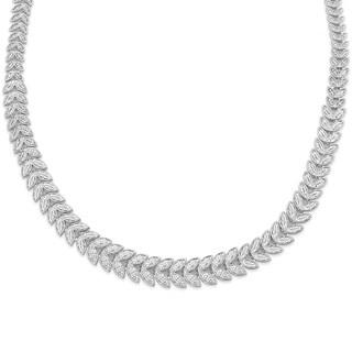 Finesque Gold or Silver Overlay 1ct TDW Diamond Graduated Leaf Necklace (I-J, I2-I3)