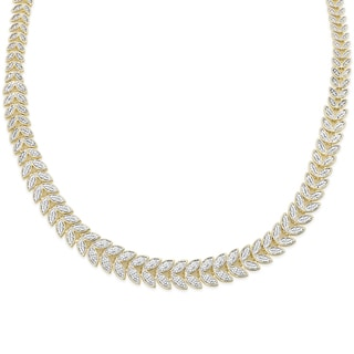 Finesque Gold or Silver Overlay 1ct TDW Diamond Graduated Leaf Necklace (I-J, I2-I3)
