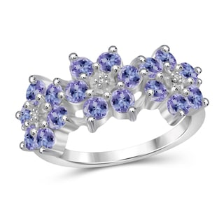 Jewelonfire Sterling Silver Tanzanite Gemstone and Accent White Diamond Flower Ring