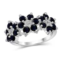 Jewelonfire Sterling Silver Sapphire Gemstone and Accent White Diamond Flower Ring