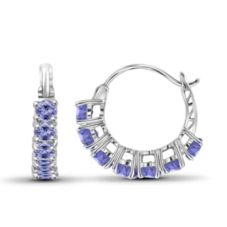 JewelonFire Sterling Silver 1.40 CTW Tanzanite Gemstone Hoop Earrings