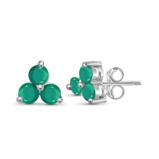 Jewelonfire Women's Sterling Silver 0.72-carat Emerald Gemstone Stud Earrings