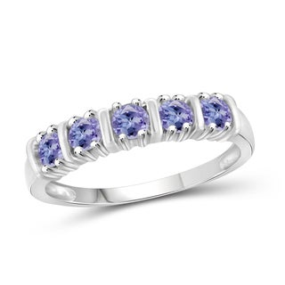 Jewelonfire Women's Sterling Silver 0.50 CTW Tanzanite 5-stone Ring