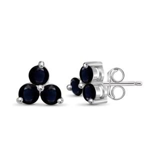 Jewelonfire Women's Sterling Silver and 0.84 CTW Sapphire Gemstone Stud Earring