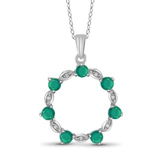 Jewelonfire Sterling Silver Emerald Gemstone and White Diamond Accent Circle Pendant