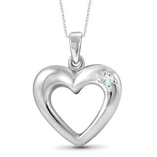 Jewelonfire Sterling Silver 0.06 CTW Aquamarine Gemstone Heart Pendant