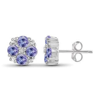 Jewelonfire Sterling Silver Tanzanite Gemstone and Accent White Diamond Earring