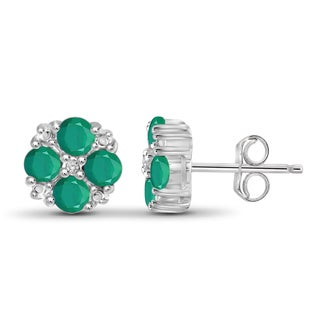 Jewelonfire Sterling Silver Emerald Gemstone and Accent White Diamond Earring