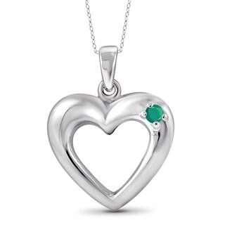 Jewelonfire Sterling Silver 0.07-carat Emerald Gemstone Heart Pendant