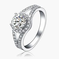Collette Z Sterling Silver Round Cut Cubic Zirconia Royal Ring - White