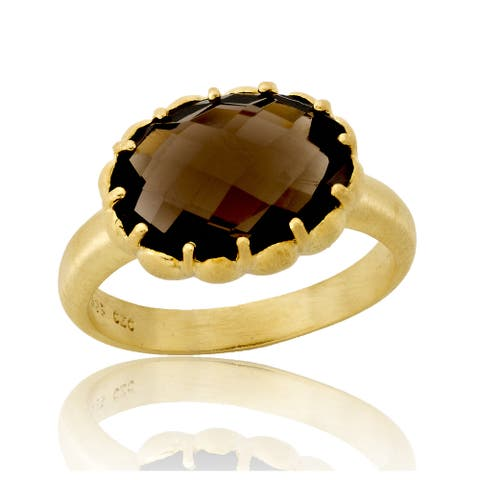 Collette Z Gold Plated Smokey Cubic Zirconia Oval Ring