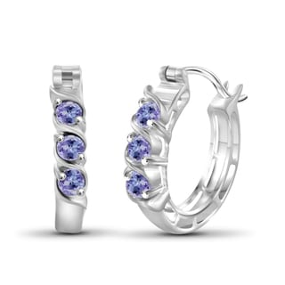 JewelonFire Sterling Silver Tanzanite Hoop Earrings