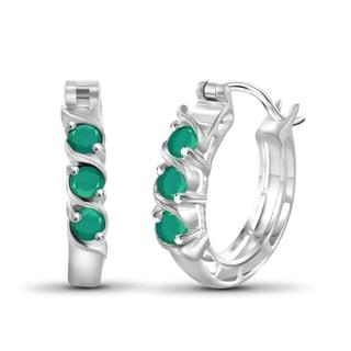 JewelonFire Sterling Silver 0.70-carat Emerald Gemstone Hoop Earrings