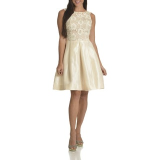 Taylor Women's Beige Mesh Floral Embroidery Fit-and-Flare Dress