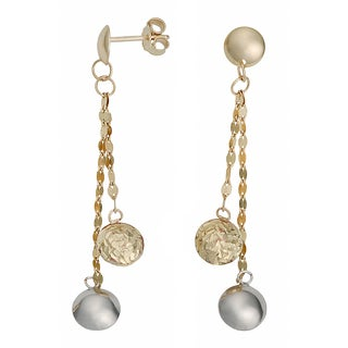 Fremada Italian 14k Two-tone Gold High POlish and Diamond-cut Puffed Circles Dangle Earrings