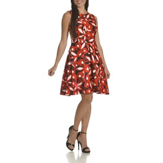Taylor Women's Red Polyester/Spandex Floral Print Fit and Flare Dress