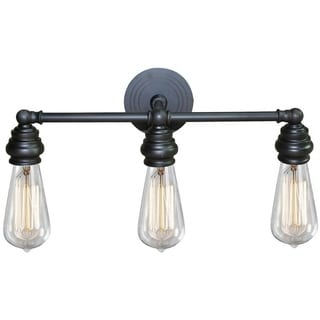 Tiffany Oil-rubbed Bronze Steel/ Metal 3-light Vanity Fixture Exposed Bulb Style