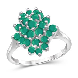 Jewelonfire 1.75-carat Emerald Gemstone Sterling Silver Ring