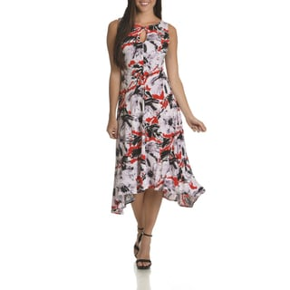 Taylor Women's Abstract Print Key Hole Neckline High-Low Dress