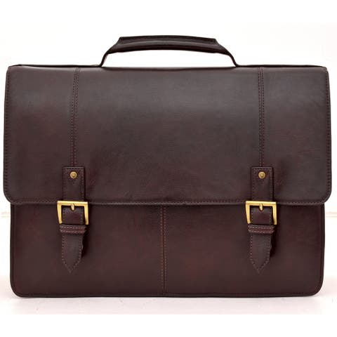 Hidesign Charles Leather Large Laptop Messenger Briefcase